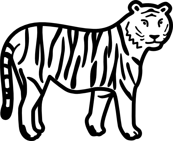 free vector Tiger Standing Looking And Watching Outline