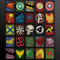 Set of 8 Superhero Kids Wall Art Decor by