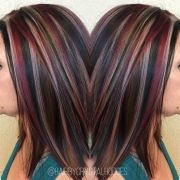 chunky highlight red blonde brown