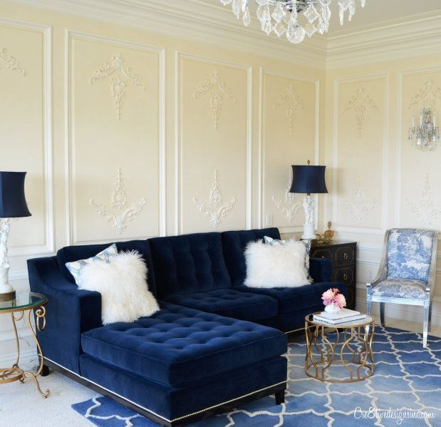 sitting pretty sofas rowe slipcovered sectional sofa 25 stunning living rooms with blue velvet | ...