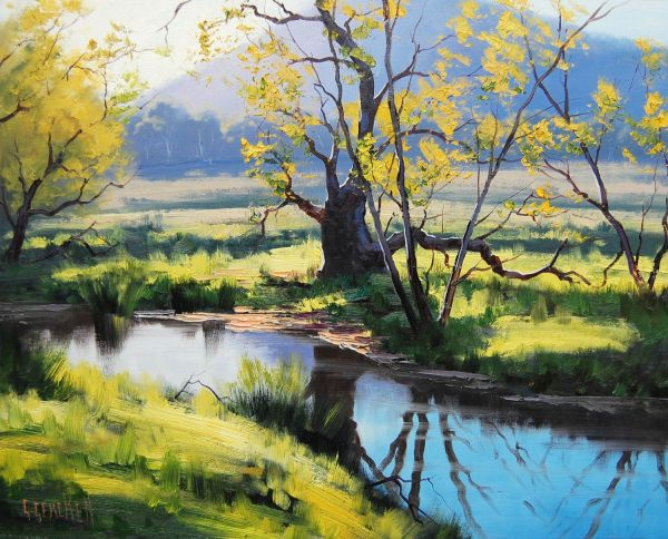 Listed Artist River Oil Painting Impressionist Landscape Fine Art .gercken