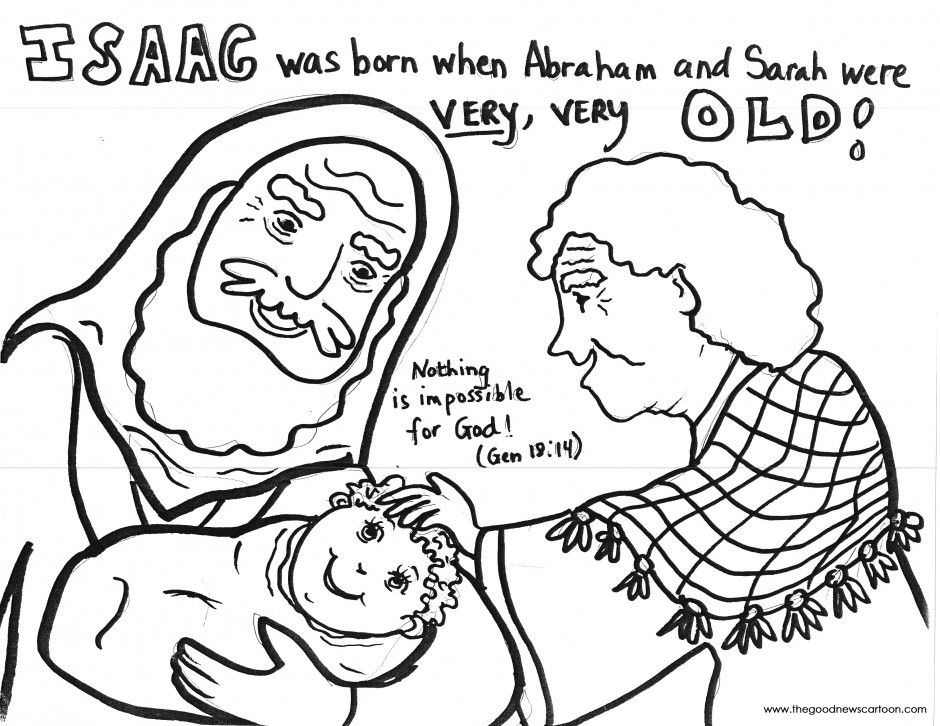Abraham and Sarah have Baby Isaac Coloring Page