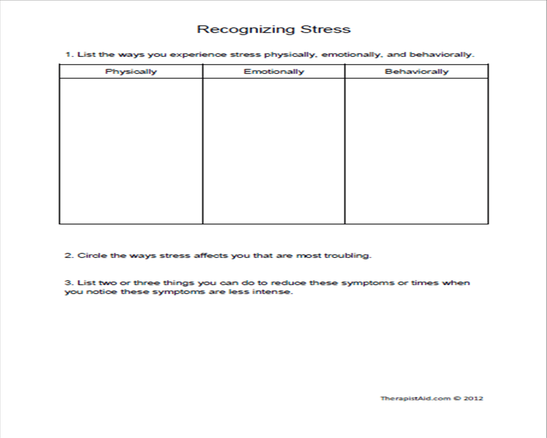 Worksheet Stress Reduction Worksheets Worksheet Fun