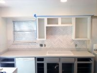subway tile herringbone backsplash