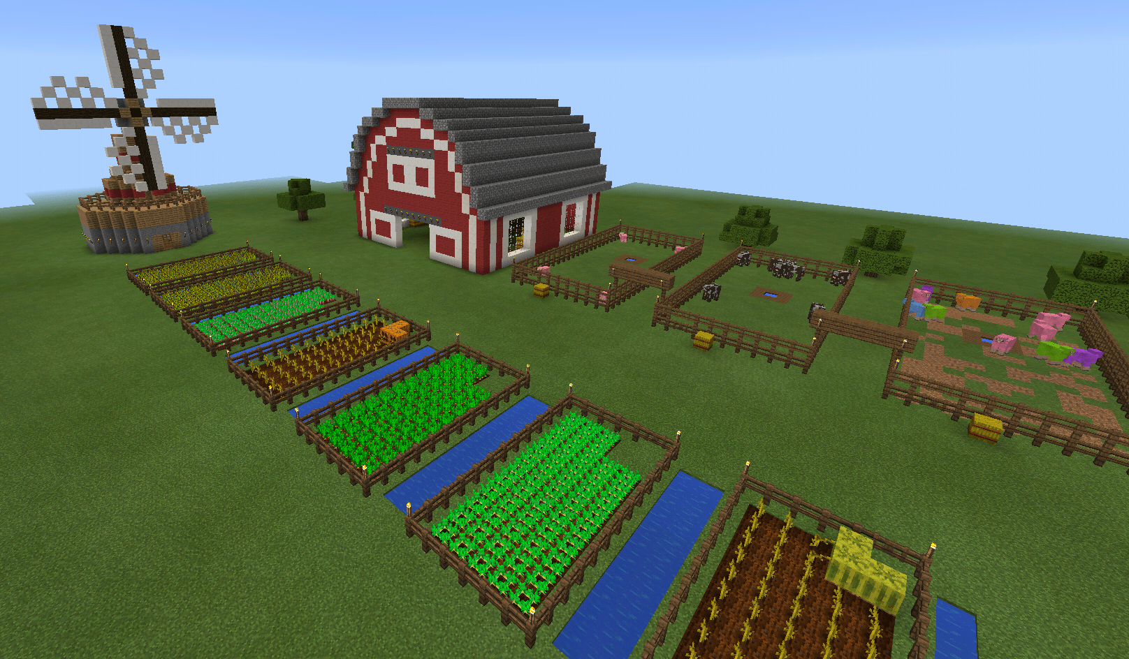 Minecraft Barn Farm And Windmill And Fence Minecraft Creations
