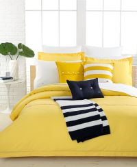 Lacoste Solid Lemon Drop Brushed Twill Comforter and Duvet