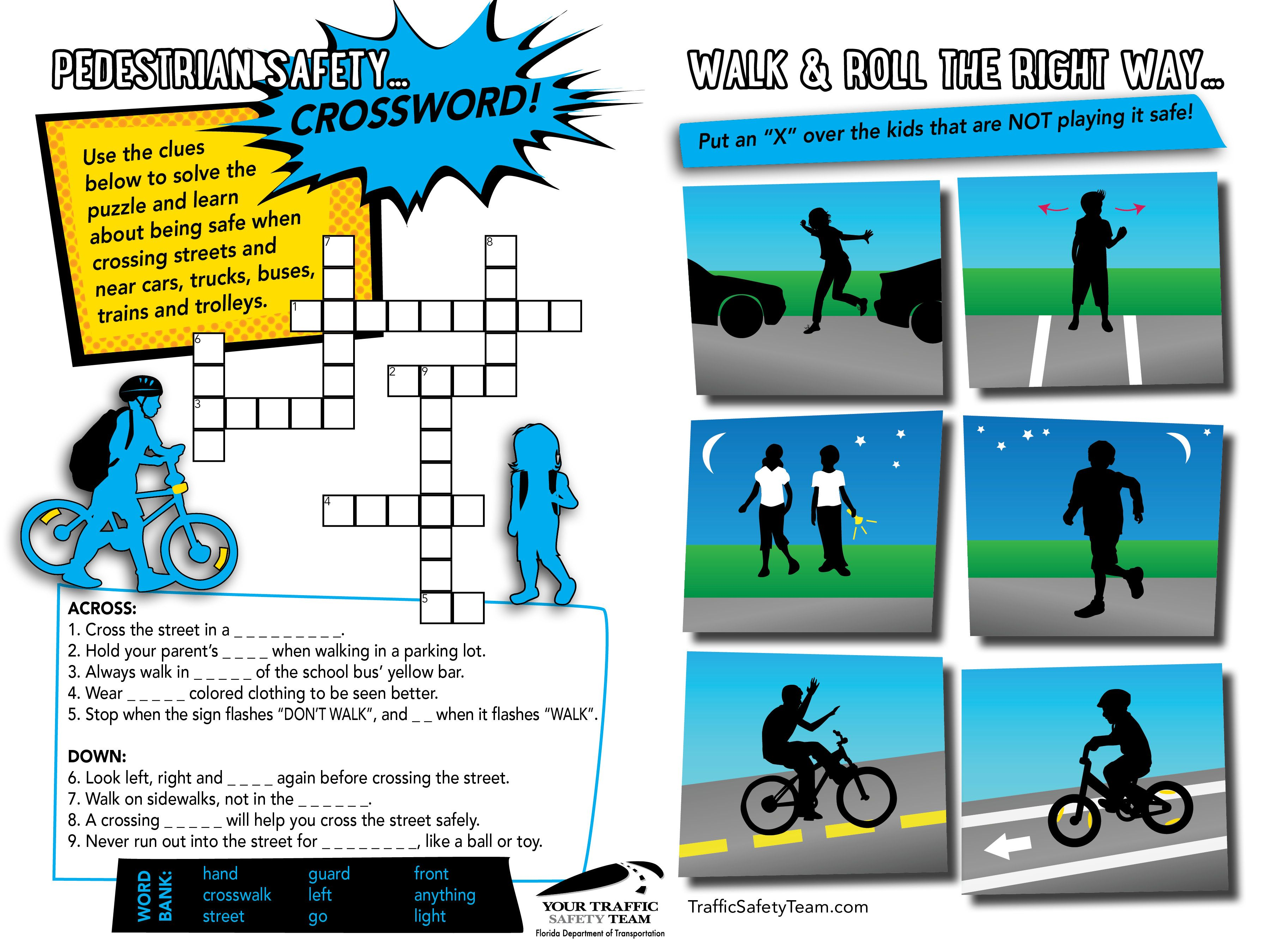 Walk Amp Roll The Right Way Activity Sheet A Fun Crossword Puzzle