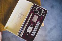 Groomsmen gifts. Brass knuckles, butterfly knife, flask ...