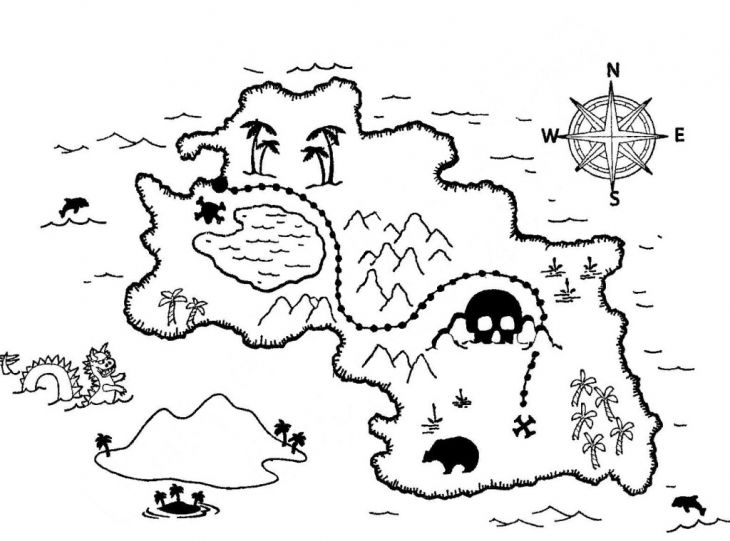 Online coloring sheet of treasure map to print for kids
