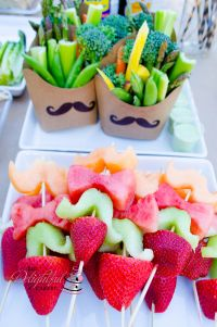 mustache and bow tie fruit kabobs and veggies | mustache ...