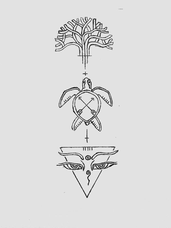 Unique tattoo design with the three elements tree,tortoise