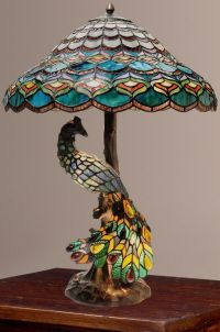 Tiffany-Style Peacock's Hallow Double Lit Stained Glass ...