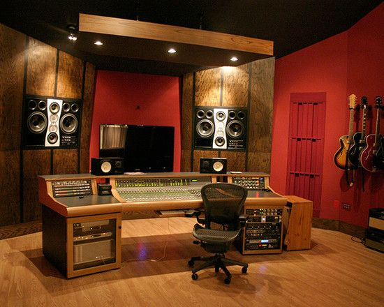 Charming Home Recording Studio Design Ideas Using Red Wall And
