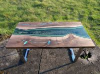 Live edge river coffee table with glowing resin fill in ...