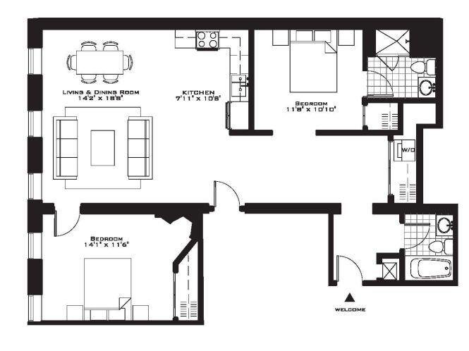 Exquisite Luxury 2 Bedroom Apartment Floor Plans On Apartments With Plan Of 55 North