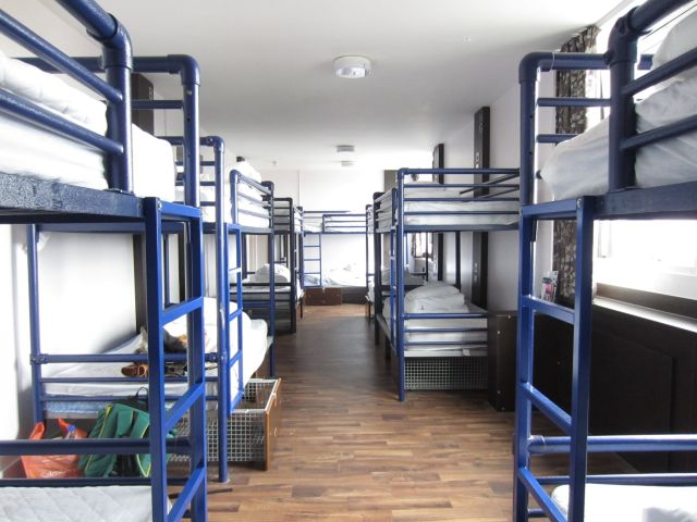 14 bed female dorm with lockers under the beds Euro Hostel