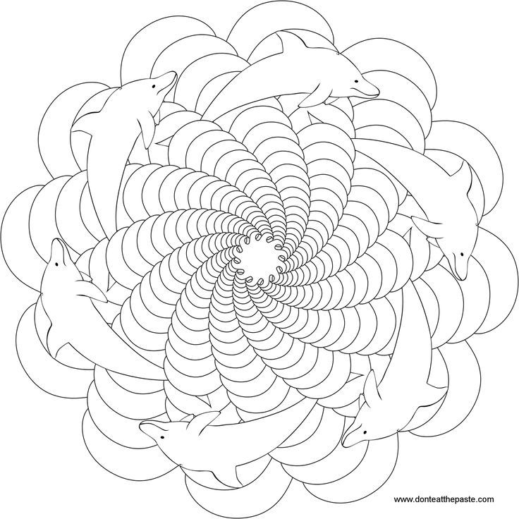 Dolphin Mandala, Animal Mandala Pictures to Color, Mandala