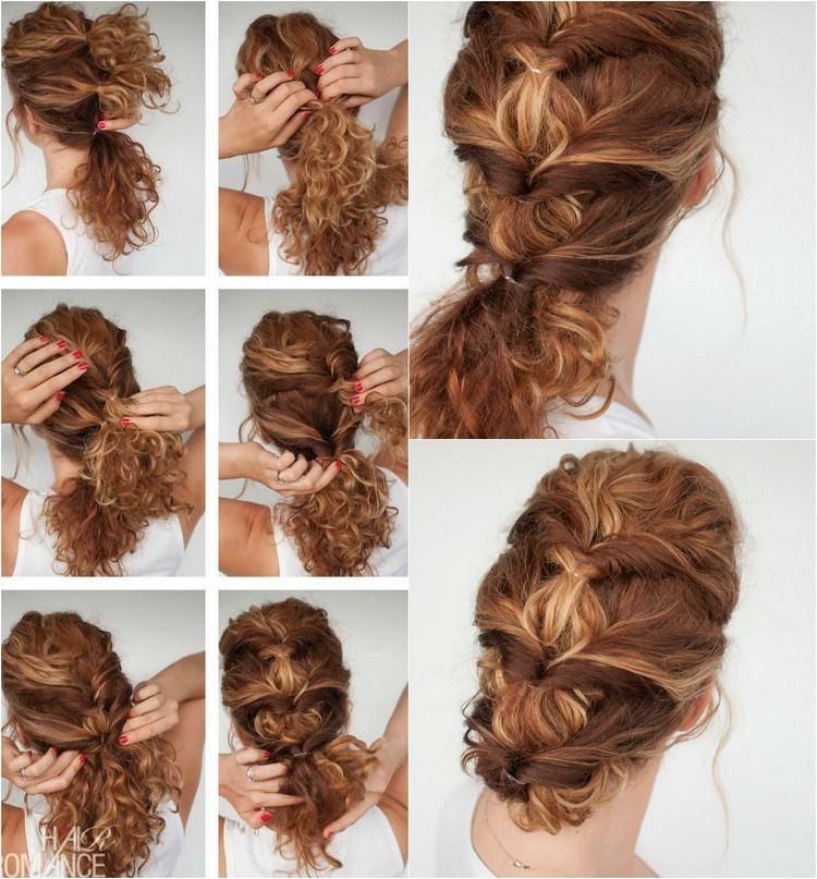 Interessante Frisur Für Lockiges Haar Mit Pferdeschwanz Oder Dutt