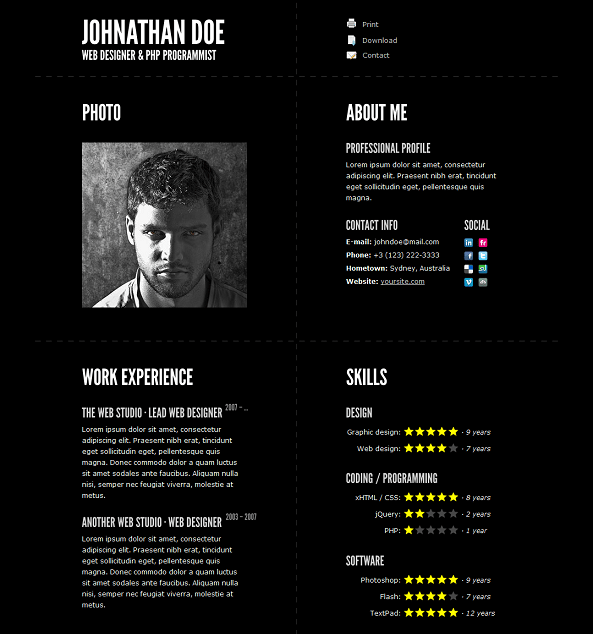 This Resume Website Template Offers A Built In Ajax PHP Contact