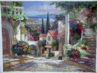 oil paintings of flower gardens Rose Garden Oil Painting ...