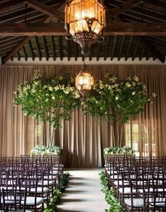 Green indoor wedding ceremony backdrop also dreamy backdrops runners dance floors rh pinterest
