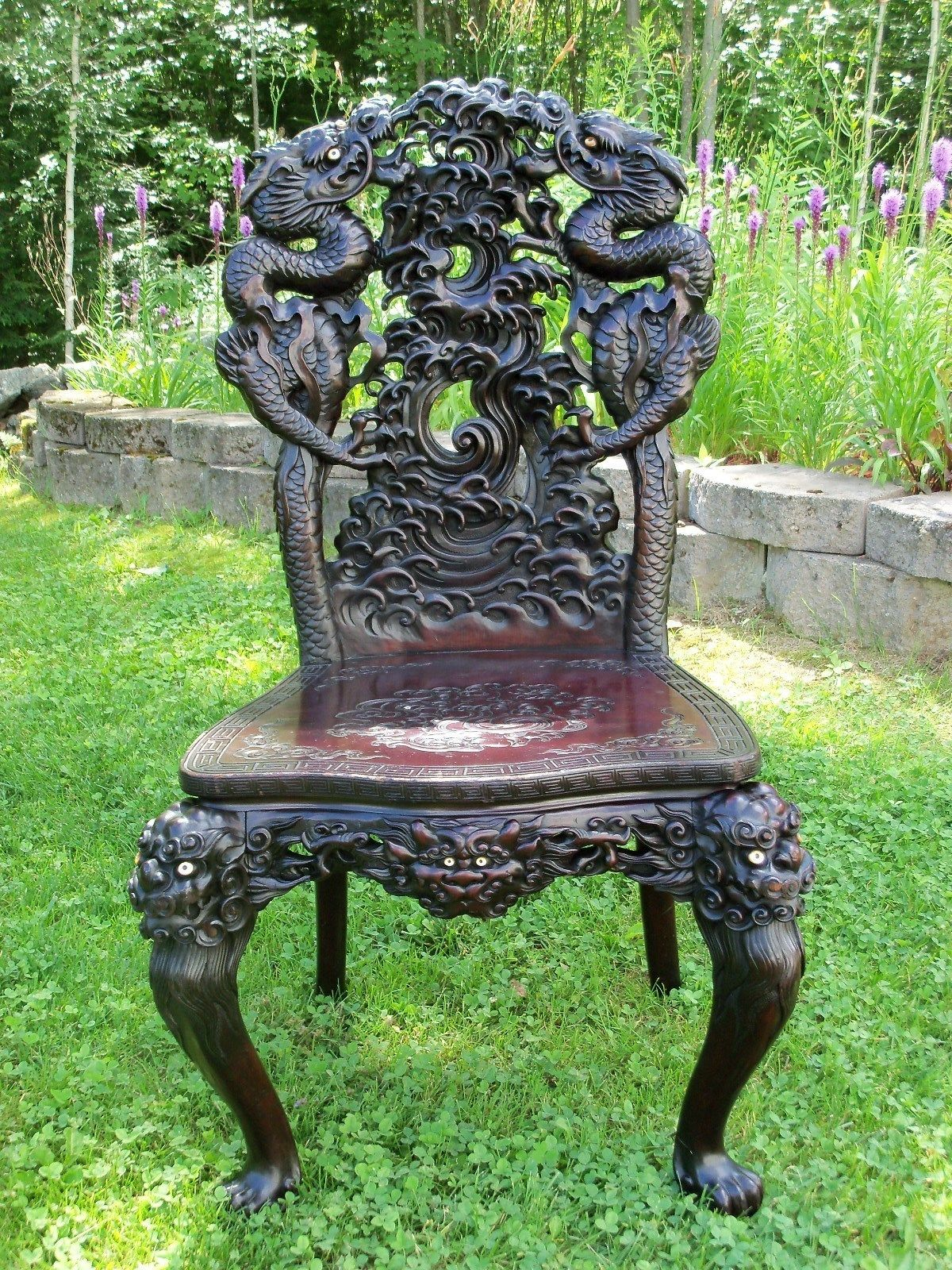 antique chinese dragon chair henriksdal dining covers ikea carved vintage oriental