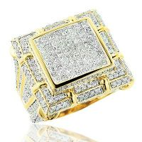 Large Mens Diamond Ring 5.34ct 14K Gold Mens Jewelry