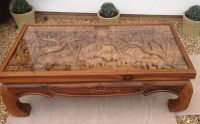 Solid Wood Hand Carved Elephant Scene Coffee Table With