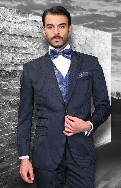 Black Suit With Blue Bow Tie
