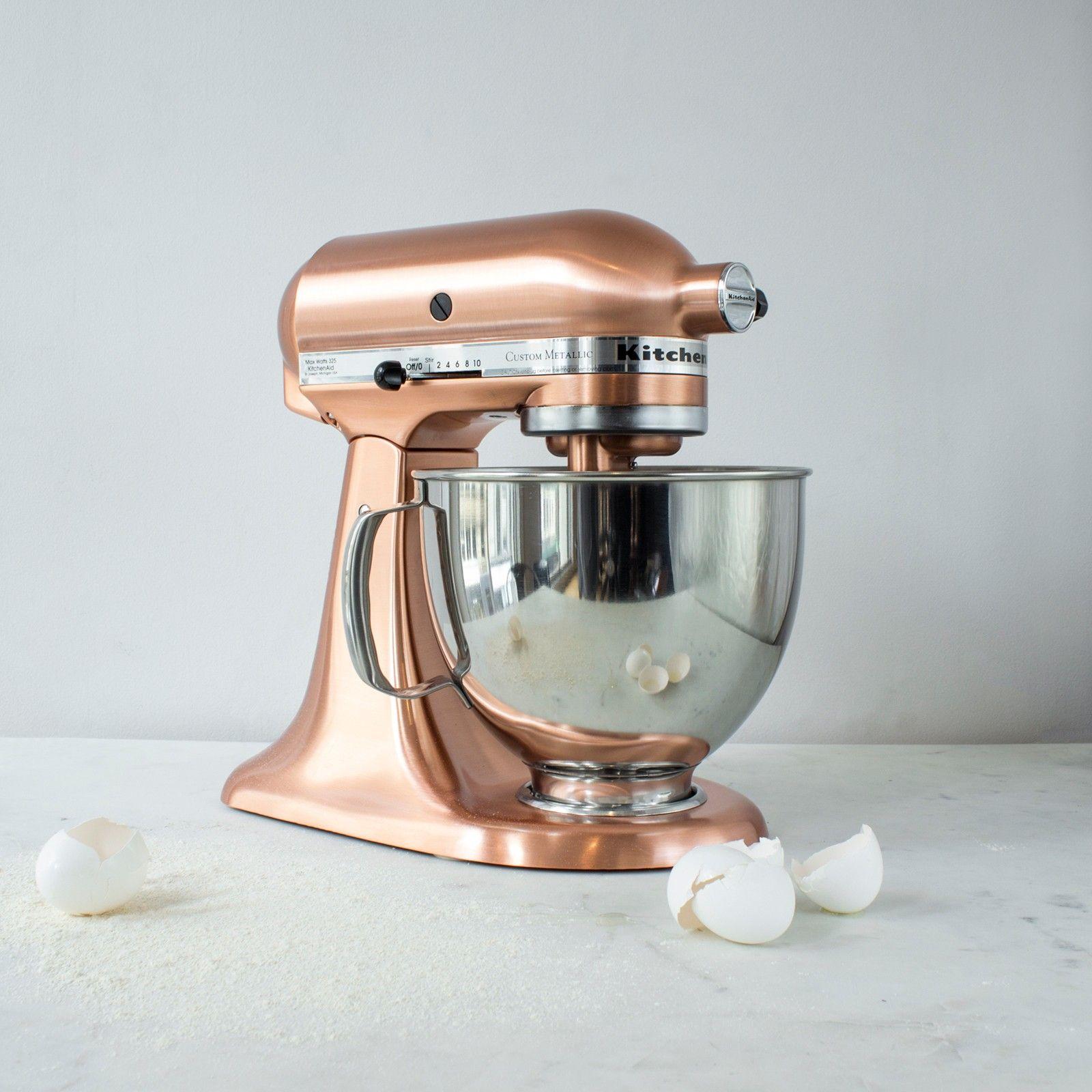 copper kitchen aid mixer glazed cabinets custom metallic series 5 qt tilt head stand by
