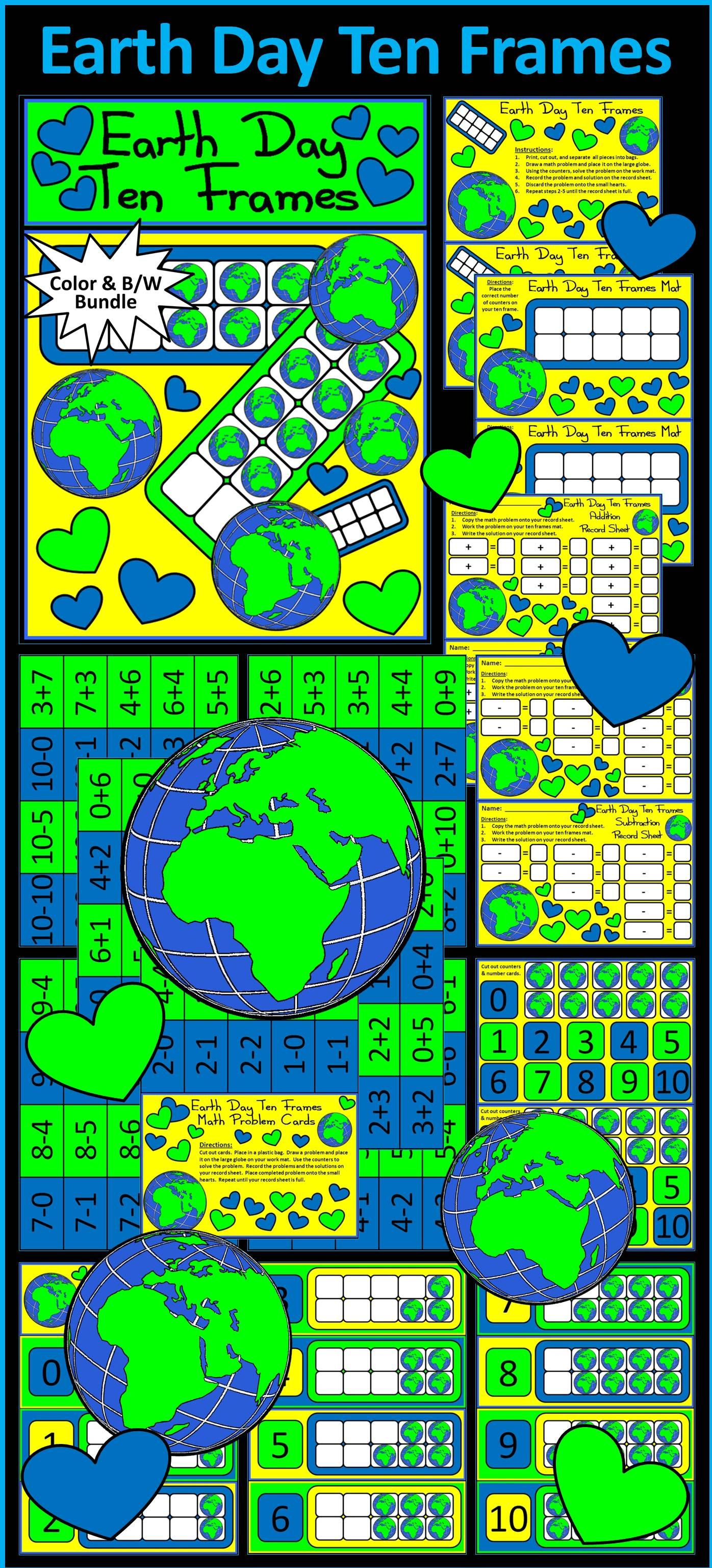 Earth Day Ten Frames Spring Math Center Activity Packet Give Your Students A Fun And Festive