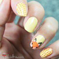 Little fox nail art | fall | autumn | Nail art cuqui con ...