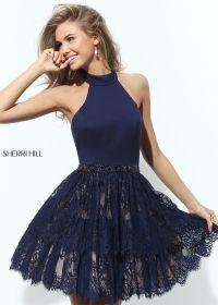 Sherri Hill 50634 Lace Skirt Halter Dress | Navy lace ...