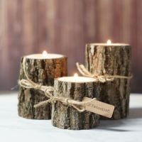 Twine Log Candle Holder Set of 3 | Rustic centerpieces ...
