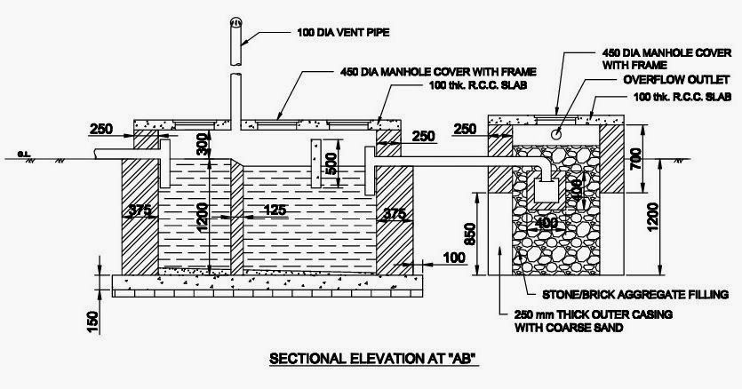 Septic Tank Drawing, Septic Tank, Soak Pit Drawing, Soak