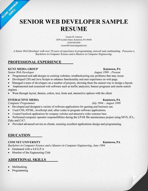 sample senior web developer resume