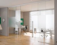 Interior: Glass Door In Office, sliding glass door design