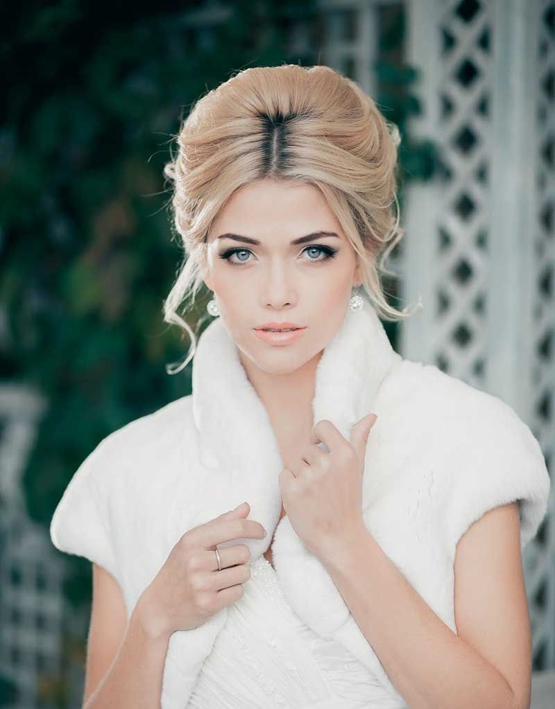 Bouffant Updo With Middle Parting Bridal Updo Wedding Hair