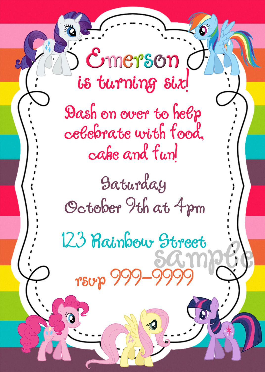 My Little Pony Printable Birthday Invitation 15 00 Via Etsy