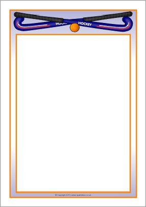 Hockey A4 page borders SB10059 SparkleBox Sport