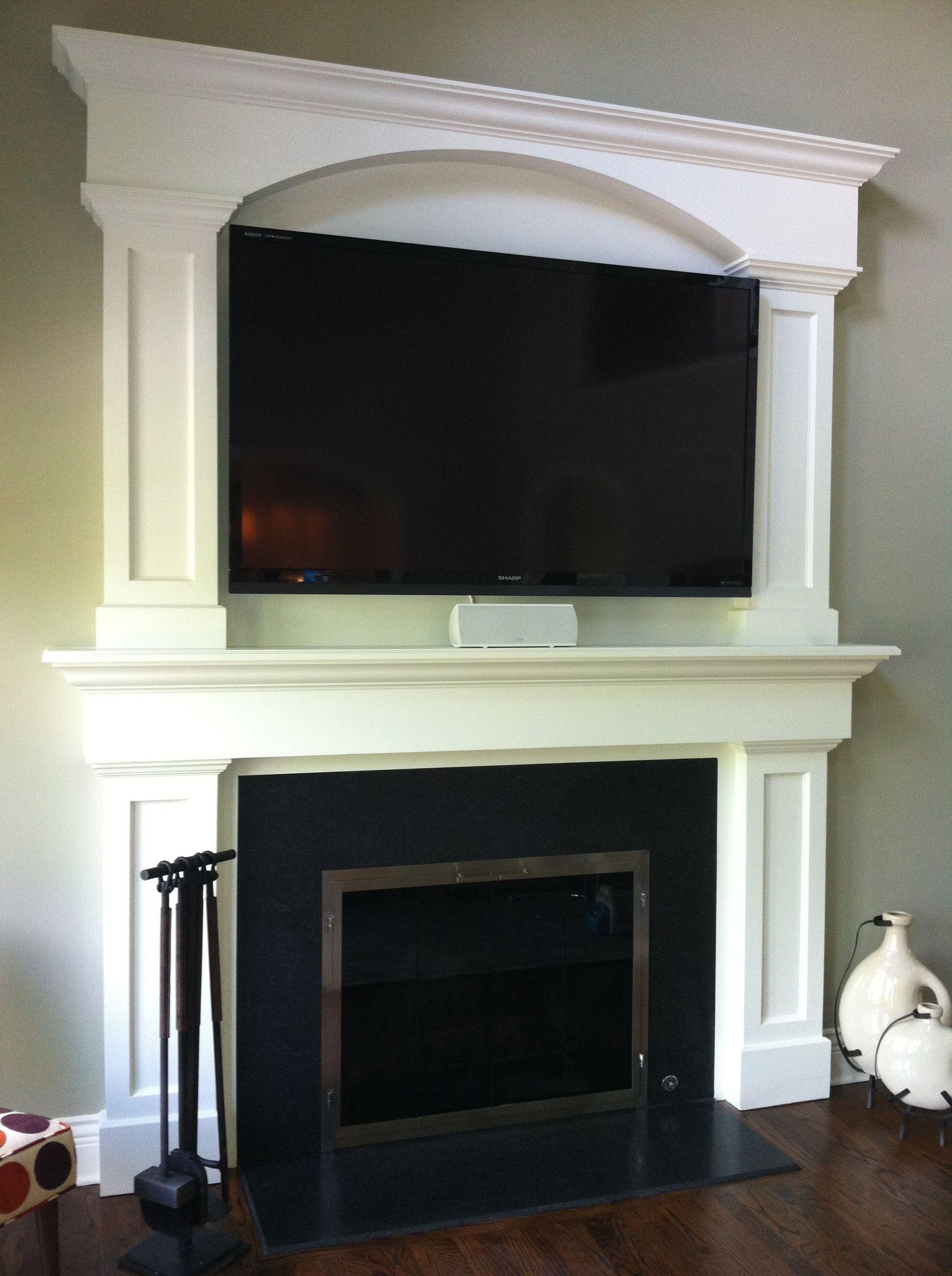 Custom Fireplace Surround Tv Above Fireplace Granite Face