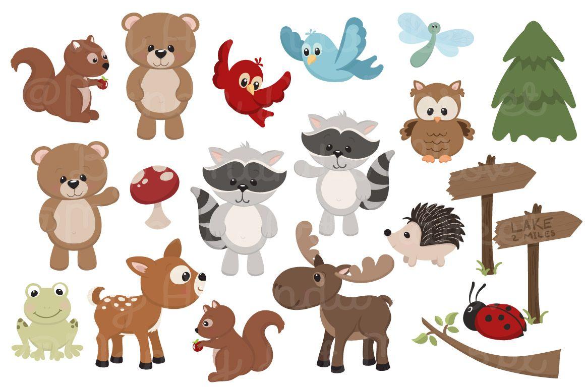 Woodland Animals Baby Shower Clip Art