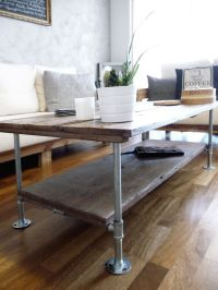 Diy Coffee table with wood and galvanized steel pipes ...