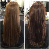 Before and after hair color. Rich chocolate brown hair ...
