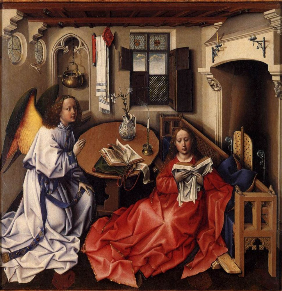 Robert Campin Annunciation Marys about to be
