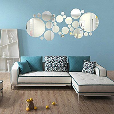 Ikevan set pcs acrylic art modern  mirror round wall stickers diy home also room painting ideas for your asian paints inspiration rh pinterest