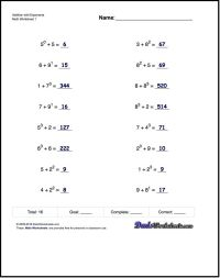Adding exponents worksheets, including simple problems ...