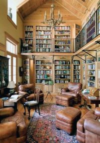 Traditional Two Story Home Library Room | kevin office ...