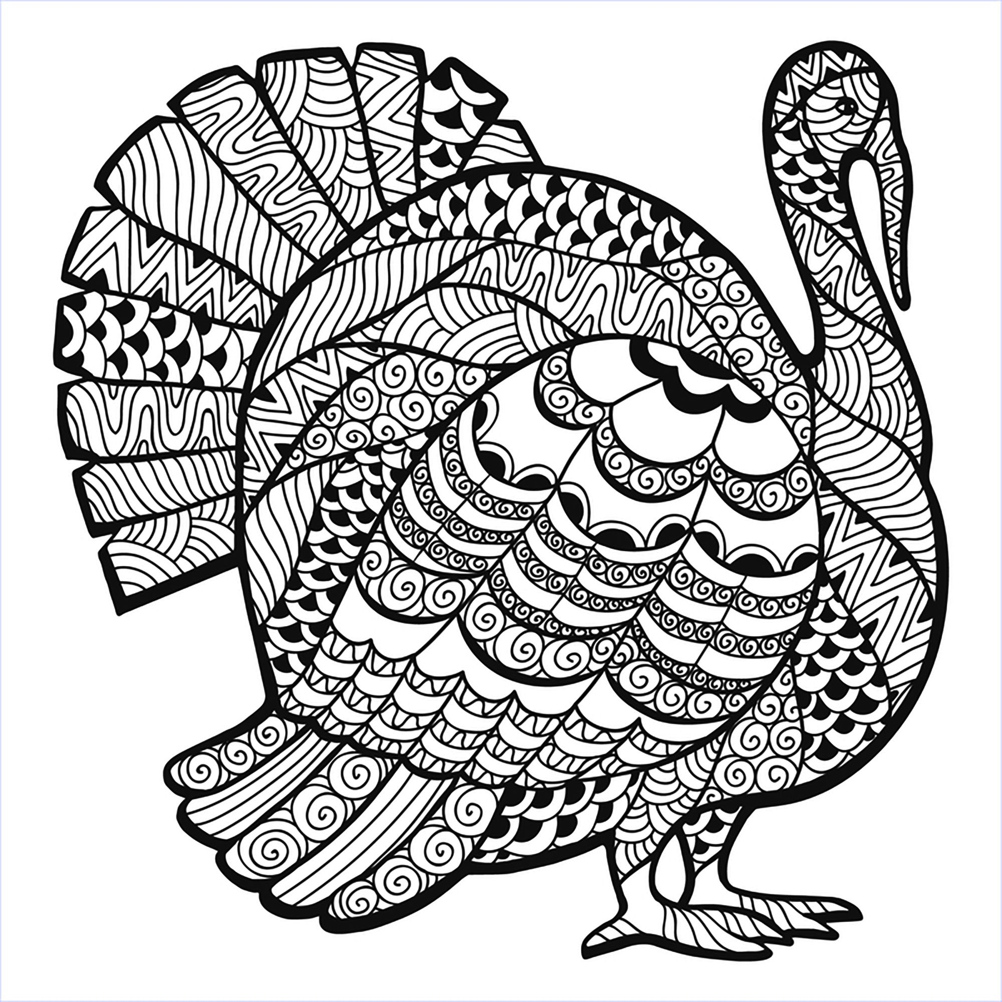 Thanksgiving Turkey Zentangle Coloring Page From The