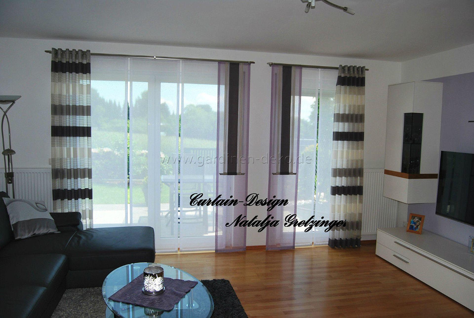 Lila Schiebevorhang frs Wohnzimmer mit grauen Seitenschals  httpwwwgardinendekodelila